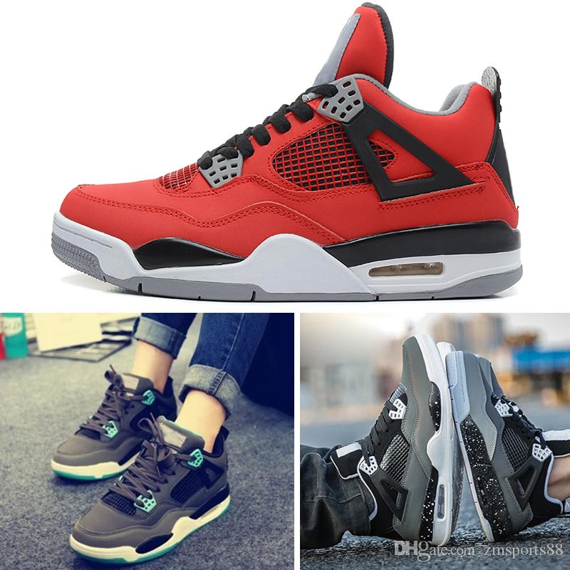 finest selection 045a7 d7e8c Acheter Nike Air Jordan 4 Retro Basketball Shoes Haute Qualité 4 4s White  Cement Pure Money Chaussures De Sport Hommes Femmes Race Royale Jeu Royal  Designer ...