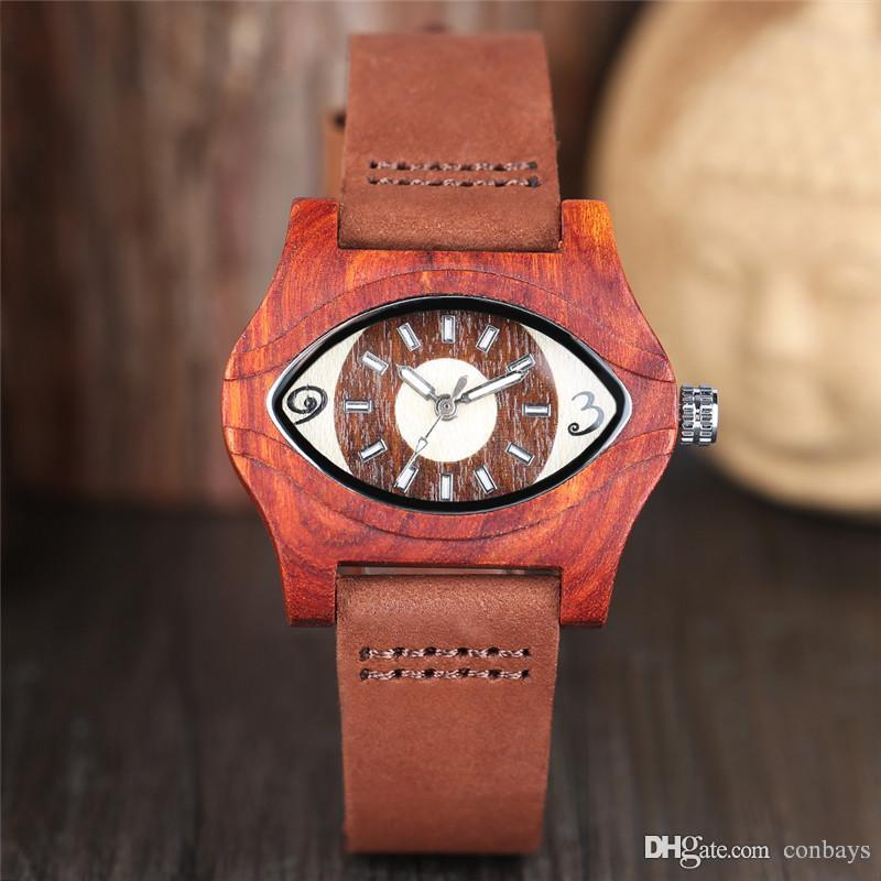 Unique Cool Turkish Evil Eye Red Wood Carving Watch Men Quartz Handmade Wristwatch for Man Natural Watches Saat Gift relojes masculinos
