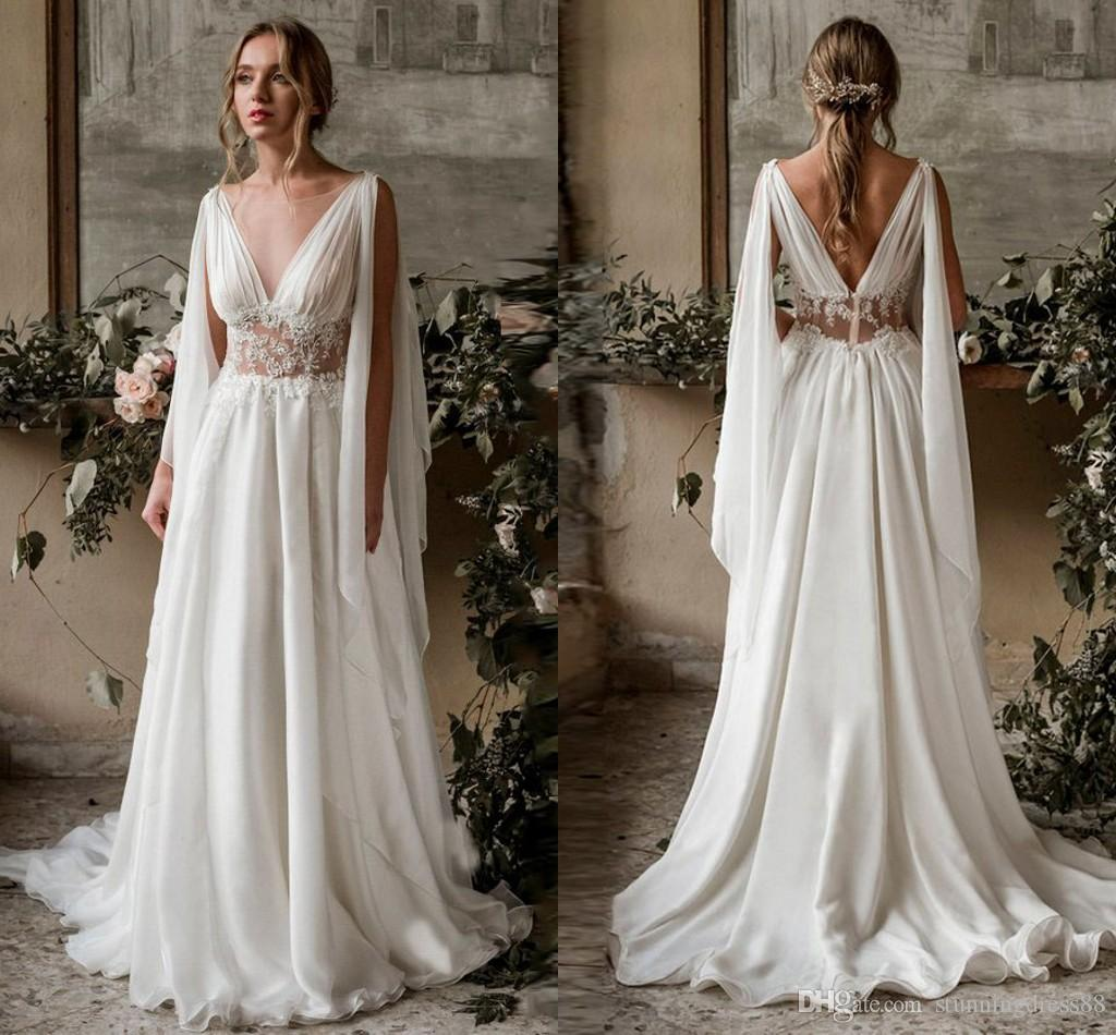 fbe03552ac8 2019 Beautiful Bohemian Wedding Dresses Bridal Gown Deep V Neck Open Back  Chiffon Applique See Through Beach Country Wedding Reception Dress  Maternity ...