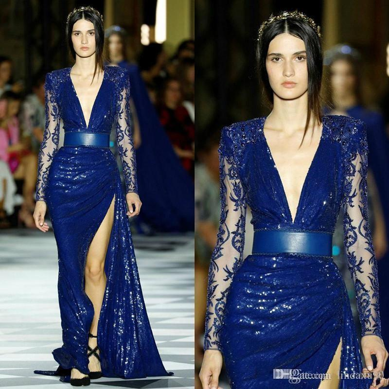 Zuhair Murad Long Sleeve Evening Dresses Blue Sequined Mermaid Illusion Thigh High Slit lace Prom Dress robes de soirée