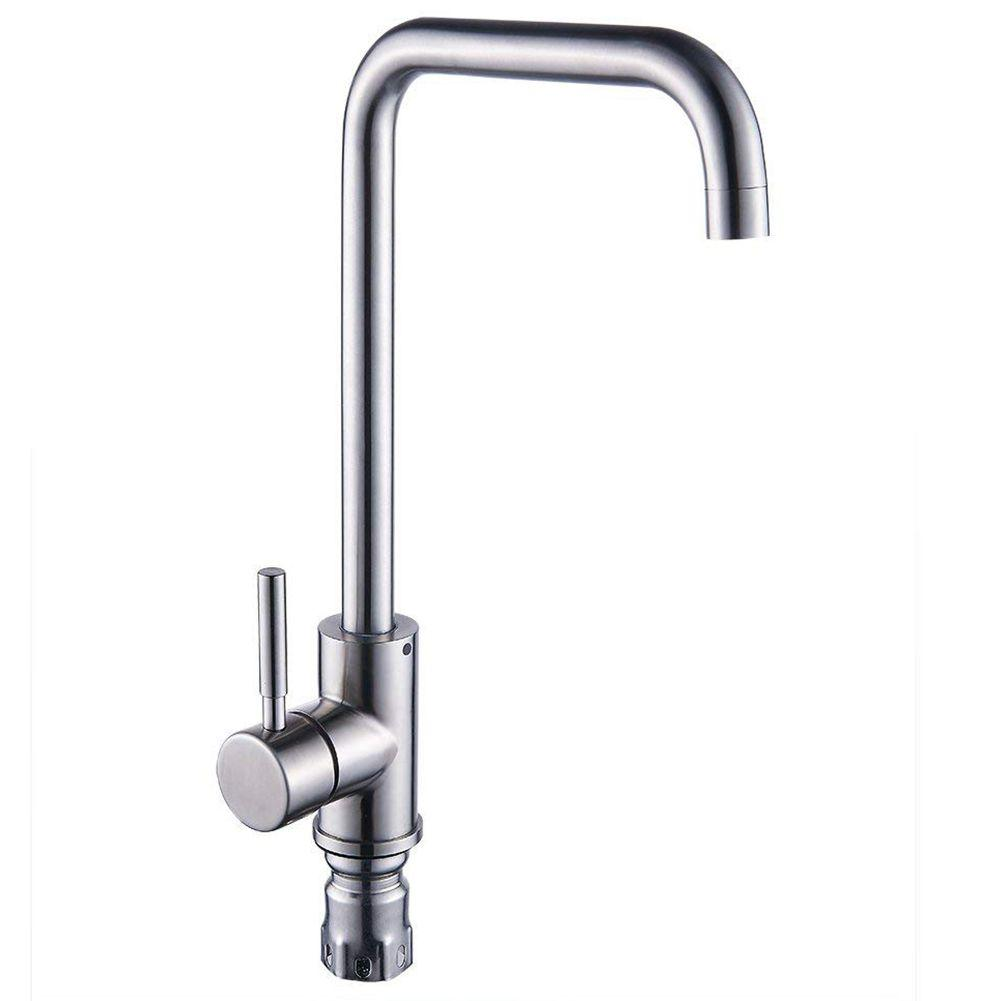 Useful Kitchen Sink Mixer Taps Single Lever Handle Swivel Spout Tap Faucet Brushed