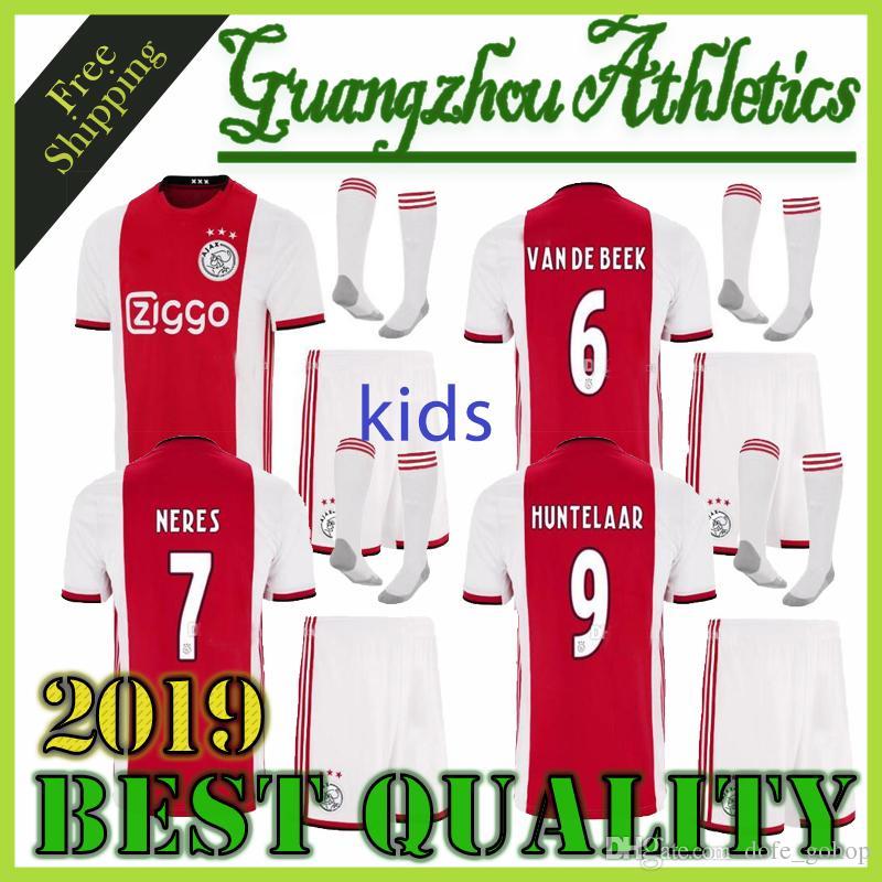 f7959877a61 2019 TOP 2019 2020 Ajax Kids Kit Soccer Jersey 19 20 Ajax Children Home Soccer  Shirt Customized #10 KLAASSEN #34 NOURI Football Shirt From Dofe_gohop, ...
