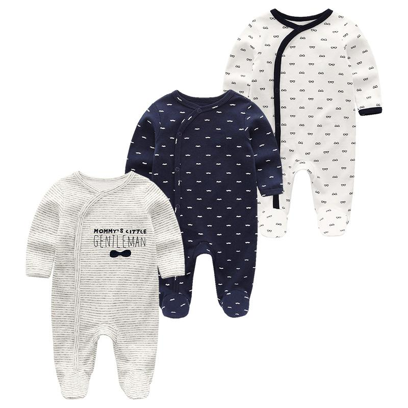 2019 Summer New Style Long Sleeved Girls Baby Romper Cotton 2&3Pcs/sets Newborn Body Suit Baby Pajama Boys Animal Monkey RompersMX190912