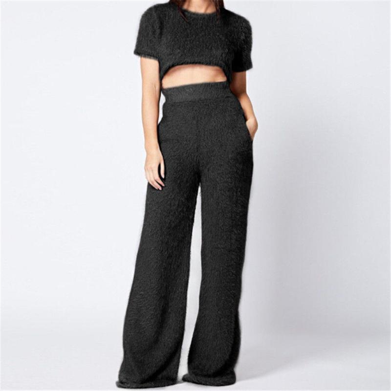 Vêtements femme Set cultures courtes fourrure Mode Femmes Fluffy manches Hauts Pantalon large jambe Glands Vêtements pour femmes Set de costumes pour dames