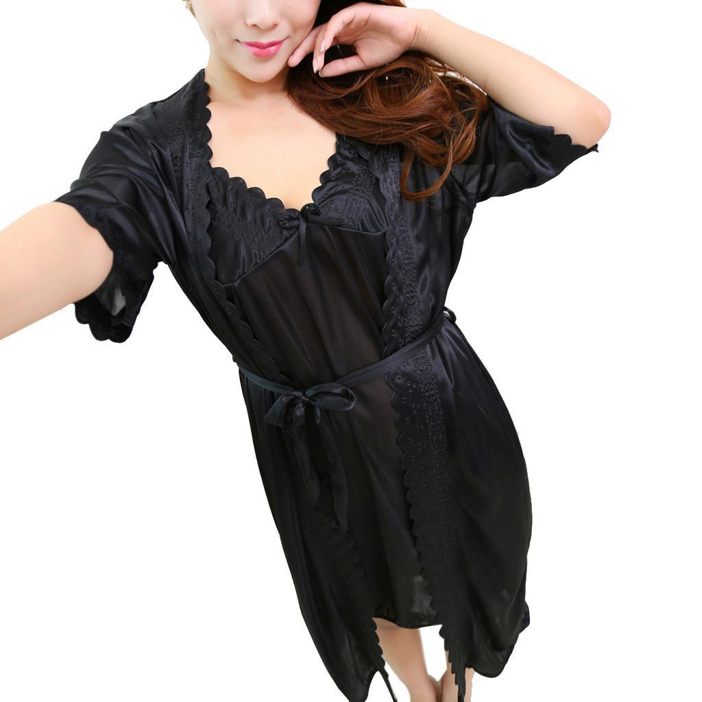 2424966043 Sexy Ice Silk Sleepwear Tops Women Temptation Lingerie Pajamas ...