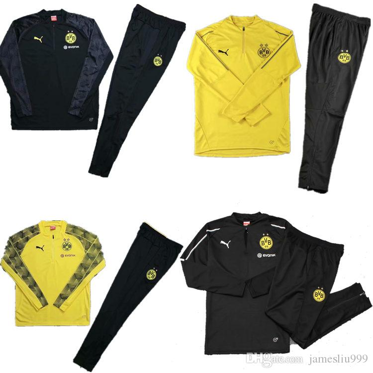 Compre 1819 Borussia Dortmund Conjunto De Chaqueta De Chándal Conjunto De  Hombres De Manga Larga Traje De Entrenamiento Pantalones De Fútbol Borussia  ... 92b5db29b7ade