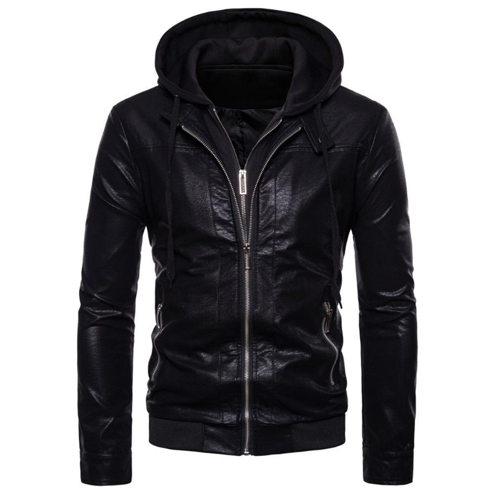 Mens Black Quality 4 Pocket Leather Motorcycle Biker Classic Waistcoat 600-002 Year-End Bargain Sale Apparel & Merchandise Men's Clothing