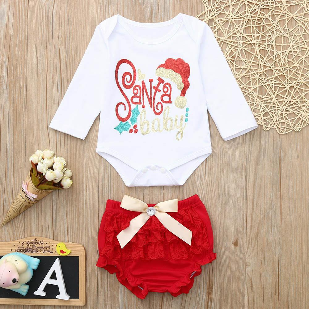 0803236d8 2019 Good Quality Infant Baby Clothes Set Boys Girls Christmas Clothing  Letter Print Jumpsuit Romper+Lace Shorts Outfit Ropa Recien From Xiaocao02,  ...