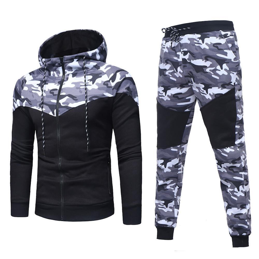 8615874de5b95 Satın Al Rahat Streetwear Erkekler Set Moda Kamuflaj Pileli Kazak Pantolon  Takım Elbise Sonbahar Artı Boyutu Ceket Pantolon Eşofman 3XL Dec5, ...