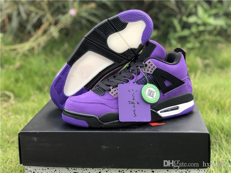 premium selection 275df 96d34 2018 Release 4 x Travis Scott 4S Cactus Jack IV Purple Blue Basketball  Shoes Sports Sneakers Authentic Quality With Box