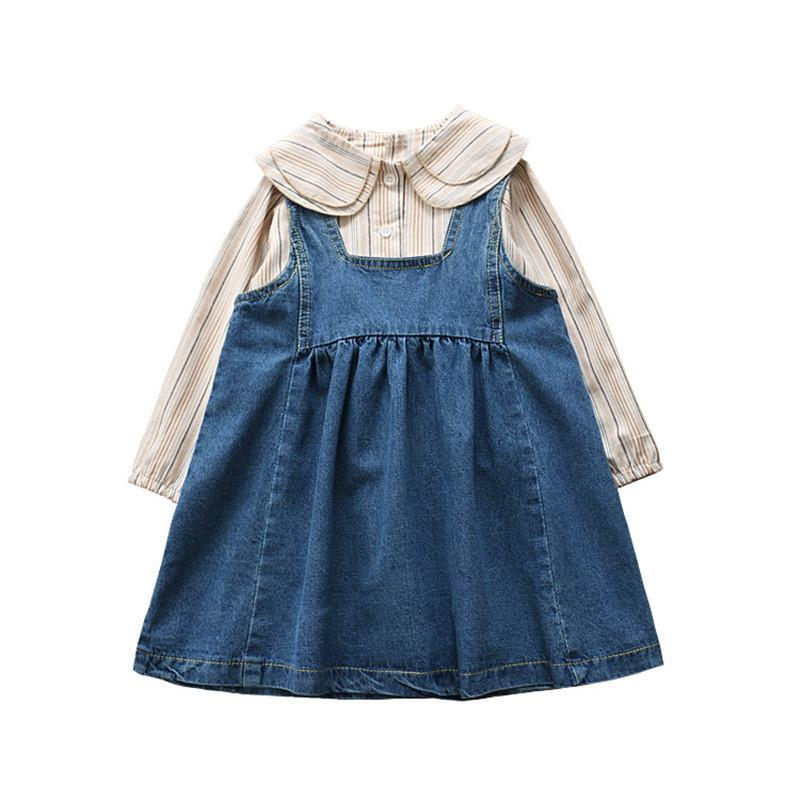 0-6 years High quality girl clothing set 2019 spring fashion cute full sleeves kid suit children clothing shirt+romper 2pcs