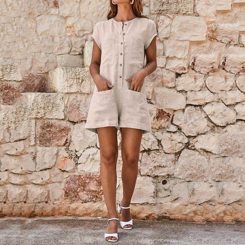 9eeaa5013583 Womail women fashion neckline solid romper short sleeve jpg 1024x1024 Solid  romper