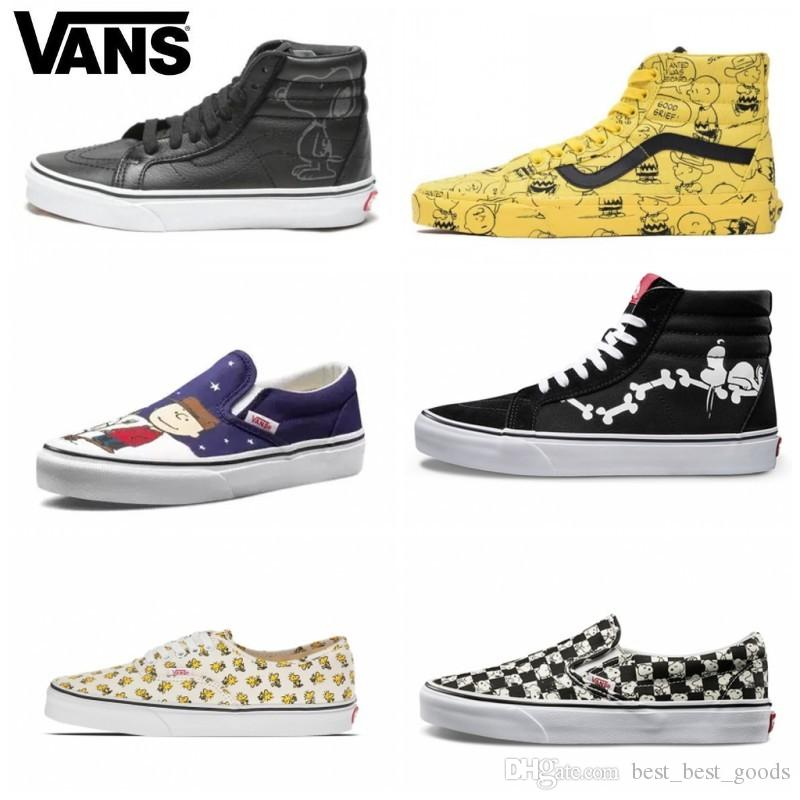 1f2efdcb256 Vans Old Skool Women Casual Shoes Rock Flame Yacht Club Sharktooth Peanuts  Skateboard Snoopy Canvas Zapatillas De Deporte Sports Sneakers Online with  ...