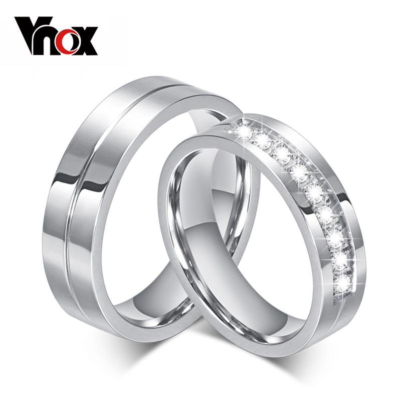 10pcs/lots Wholesale 6mm Wedding Rings Stainless Steel Couple Ring Cz Stone Provide Mix Size Y19051002