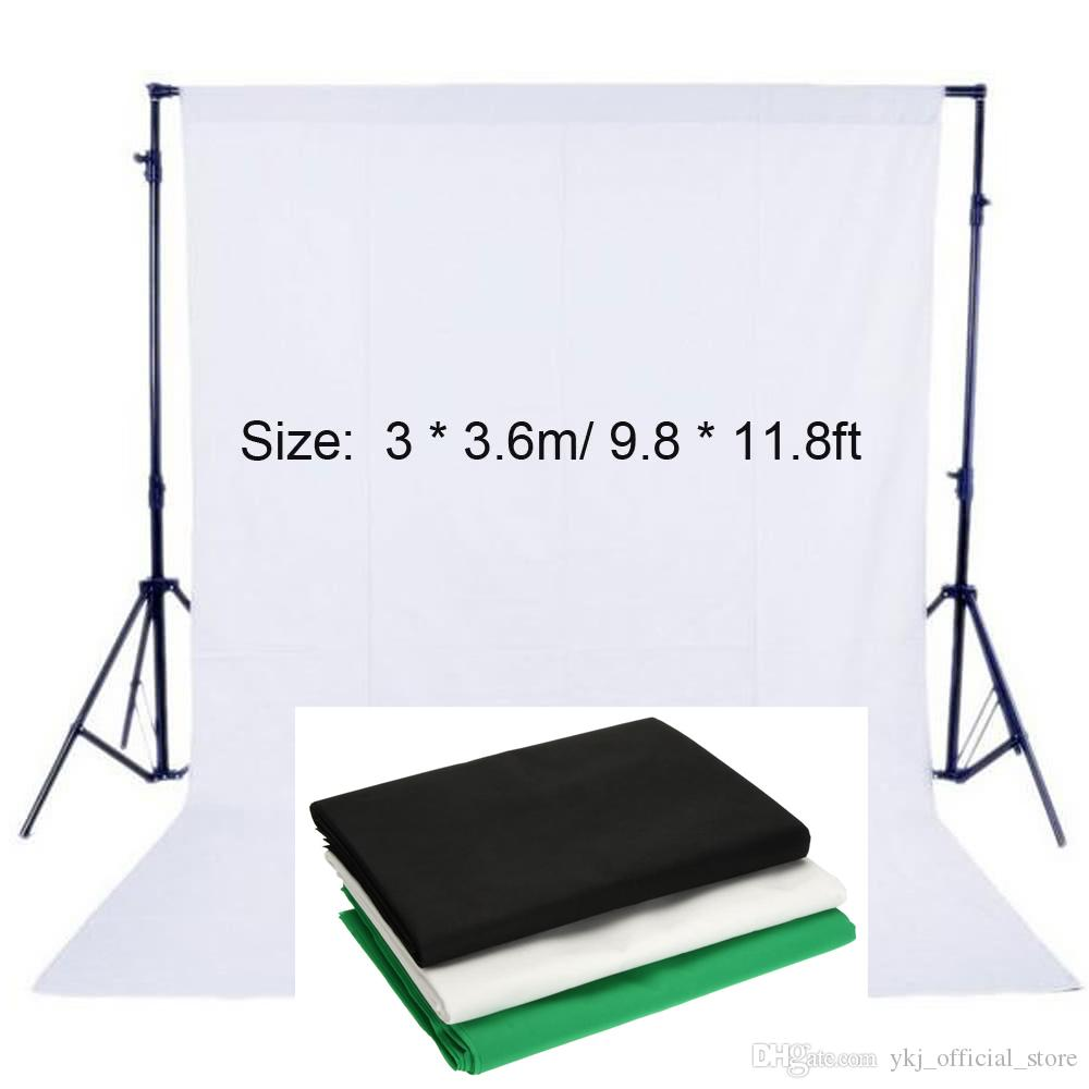 Photography Studio Background Screen Non-woven Fabric Backdrop 3X3.6M/9.8X11.8ft Black/White/Green For Studio Photo Lighting