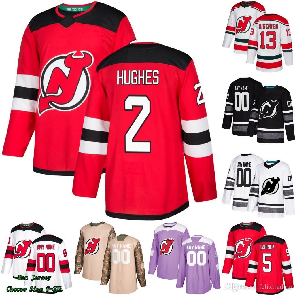 separation shoes 3864c 01a42 2 Jack Hughes New Jersey Devils Connor Carrick Taylor Hall Kyle Palmieri  Nico Hischier Keith Kinkaid Nathan Bastian Kenny Agostino Jersey
