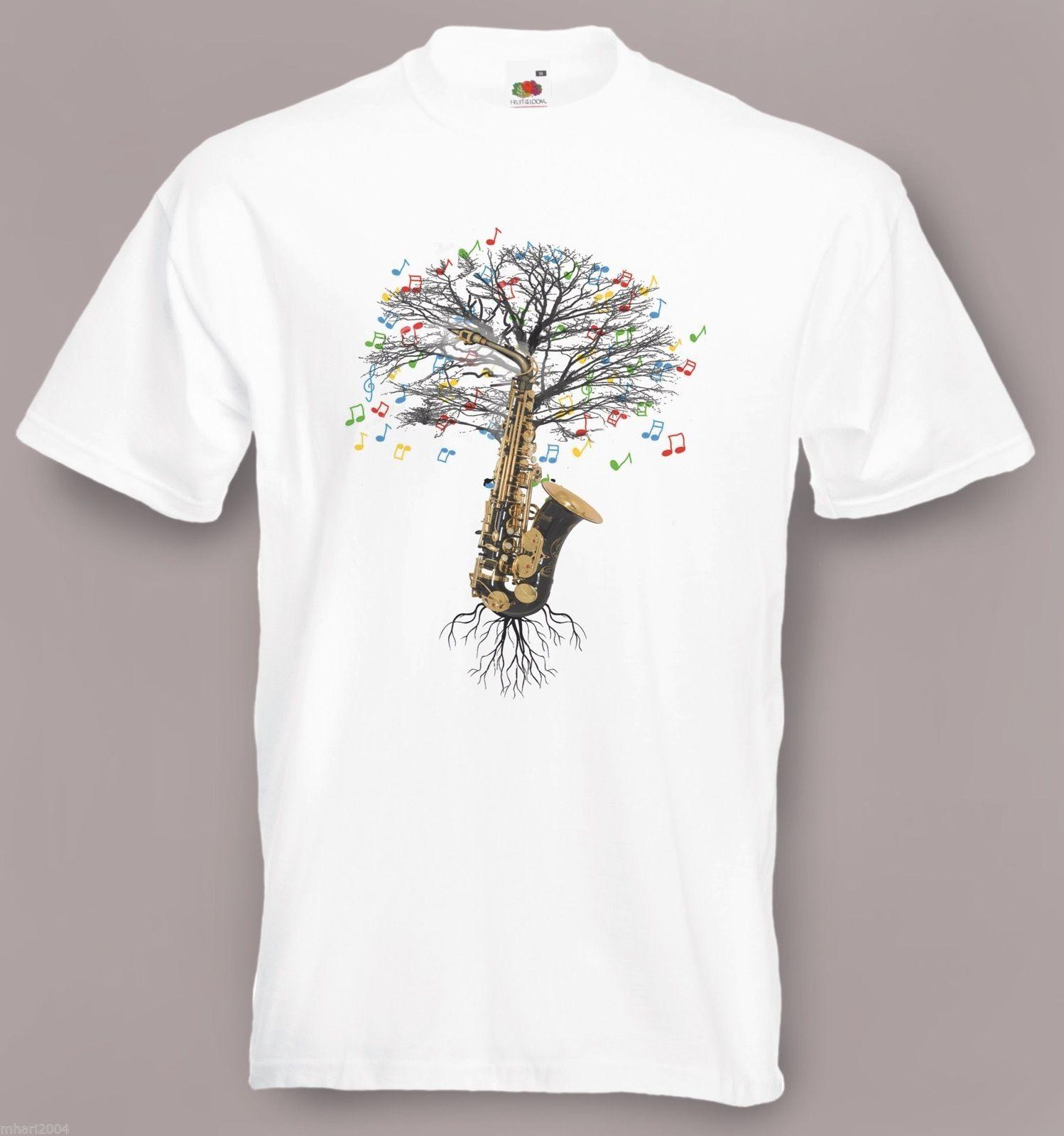 f7de13a2 Saxophone T Shirt Musical Saxophone Tree In Sizes Small To XXL Funny ...