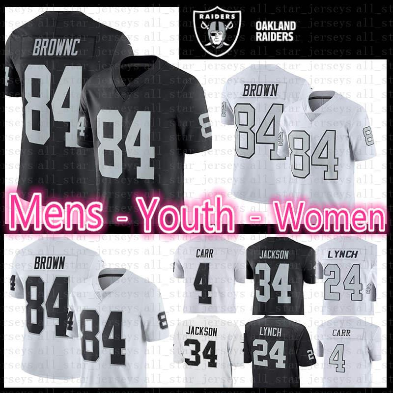 e61963a57d7 2019 84 Antonio Brown Raiders Jersey Mens Youth Women Kid S 2019 New ...