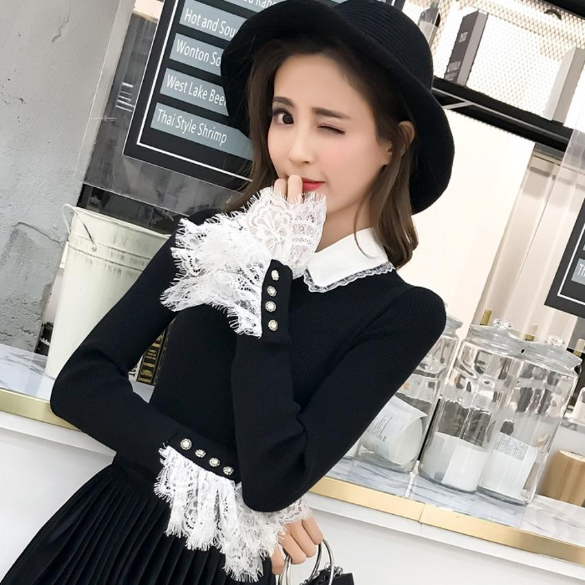 c454957dbe75 Beading Lace Patchwork Sweater Women Slim Formal Wear Flare Sleeve ...