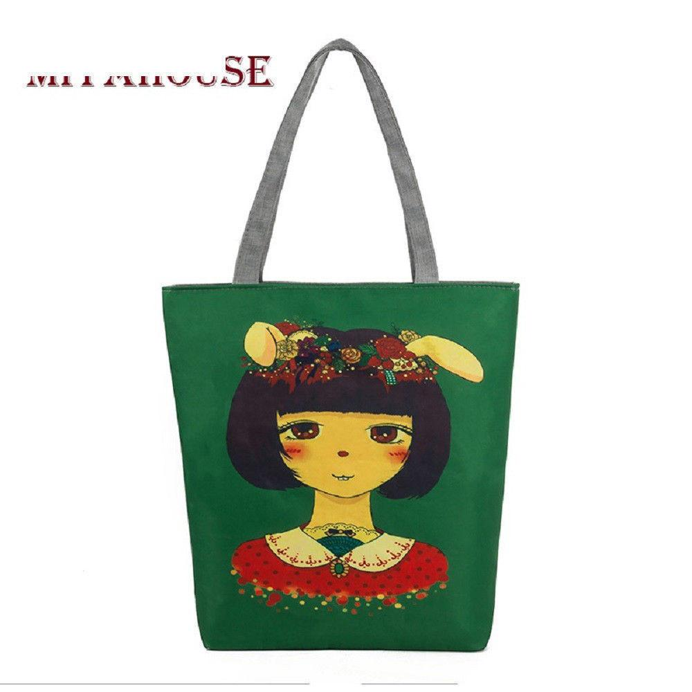 good quality Cute Rubbit Girl Printed Shoulder Bag Women Cartoon Design Canvas Tote Handbag Female Daily Use Girls Handbag