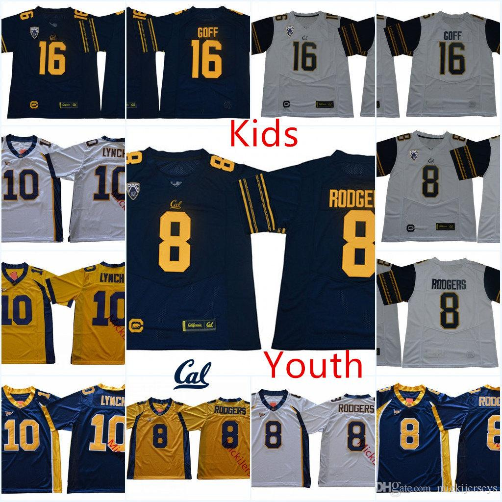 2019 Youth NCAA California Golden Bears  16 Jared Goff  8 Aaron Rodgers College  Football Jersey Stiched Kids  10 Marshawn Lynch Cal Bears Jersey From ... 18efe7818