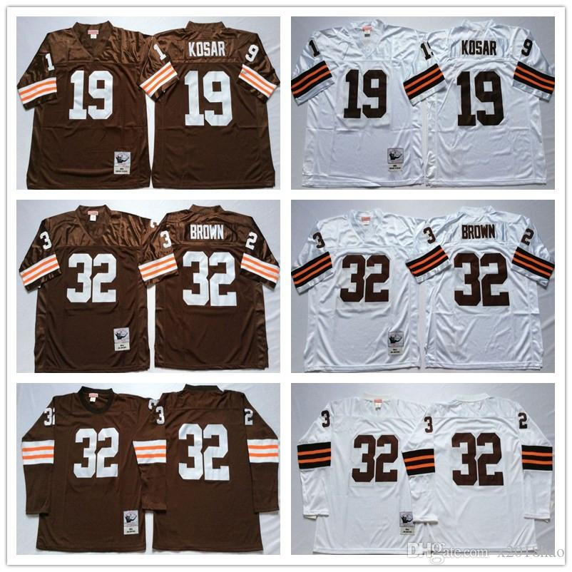 best service eab8f 69a2d 2018 Top Selling Men jersey #19 Bernie Kosar 32 Jim Jersey Coffee White  Vintage Football Jerseys free shipping