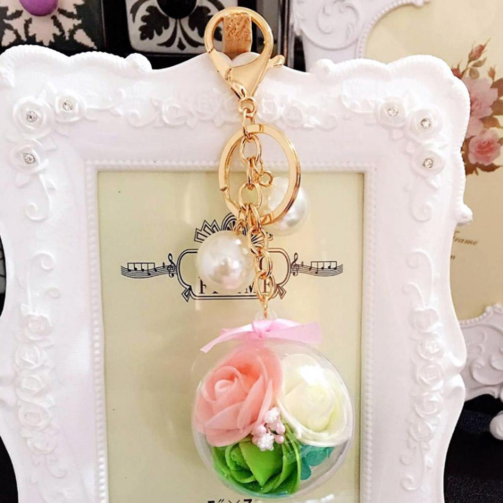 Transparent Ball 3 Rose Flower Unique Women S Keychain Handbag Ornaments  Daily Crystal Gold Color Key Ring Car Hanger Split Rings Retractable Key  Chain From ... 1cfb9a3792