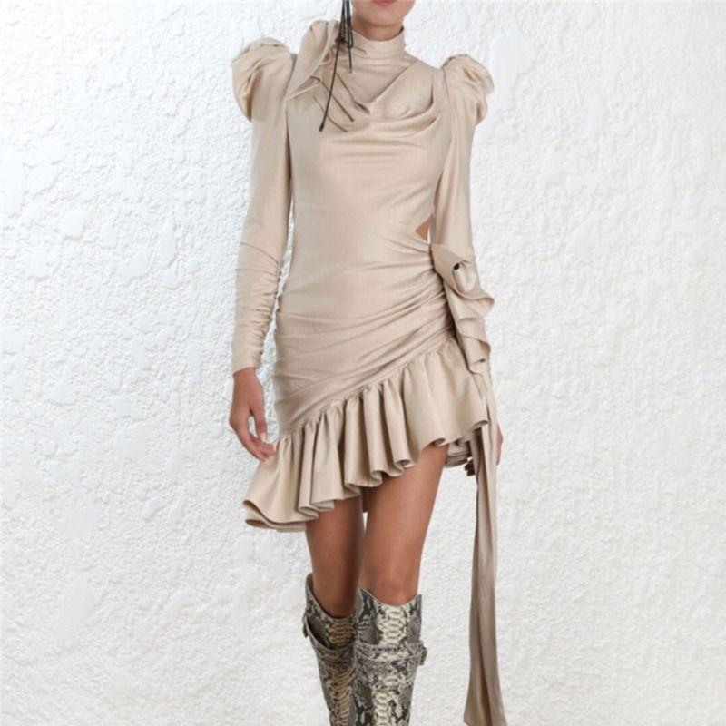 c19f85049 Compre QLZW 2018 Novo Outono E Inverno Das Mulheres Roupas De Gola Alta  Arco Coleiras Mancha Cintura Ajustar Cintos De Mangas Curtas Vestido De  Babados ...