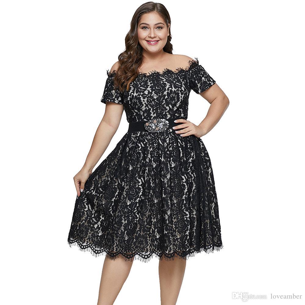 7b982024eb3 XL-5XL Новое летнее черное кружевное платье с коротким рукавом плюс размер  платья без пояса для женщин 5XL Line Line Lace Party