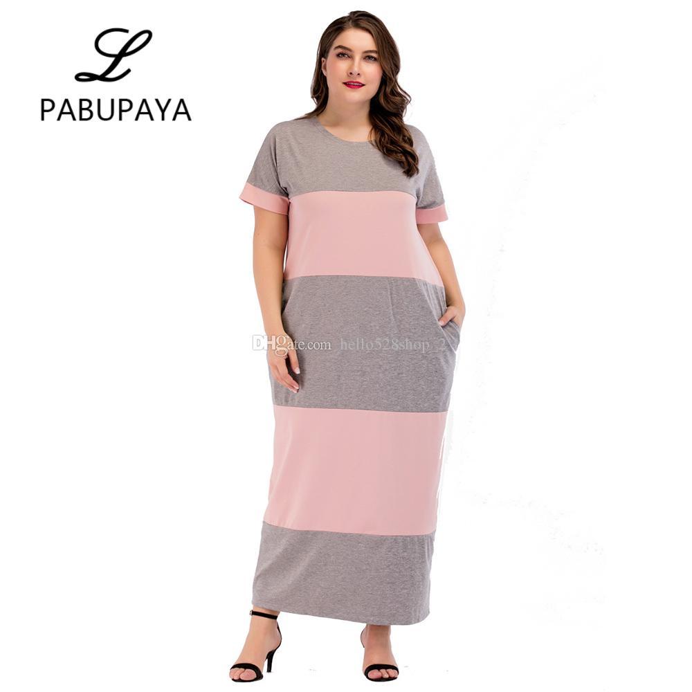 1164f34b460f1 Satın Al Yaz Kısa Kollu Casual Maxi Elbise İslam Kadın Giyim Müslümanlar  Büyük Çizgili Karışık Renkli Kaftan Uzun Elbise Uzun Elbise, $22.12 |  DHgate.Com'da