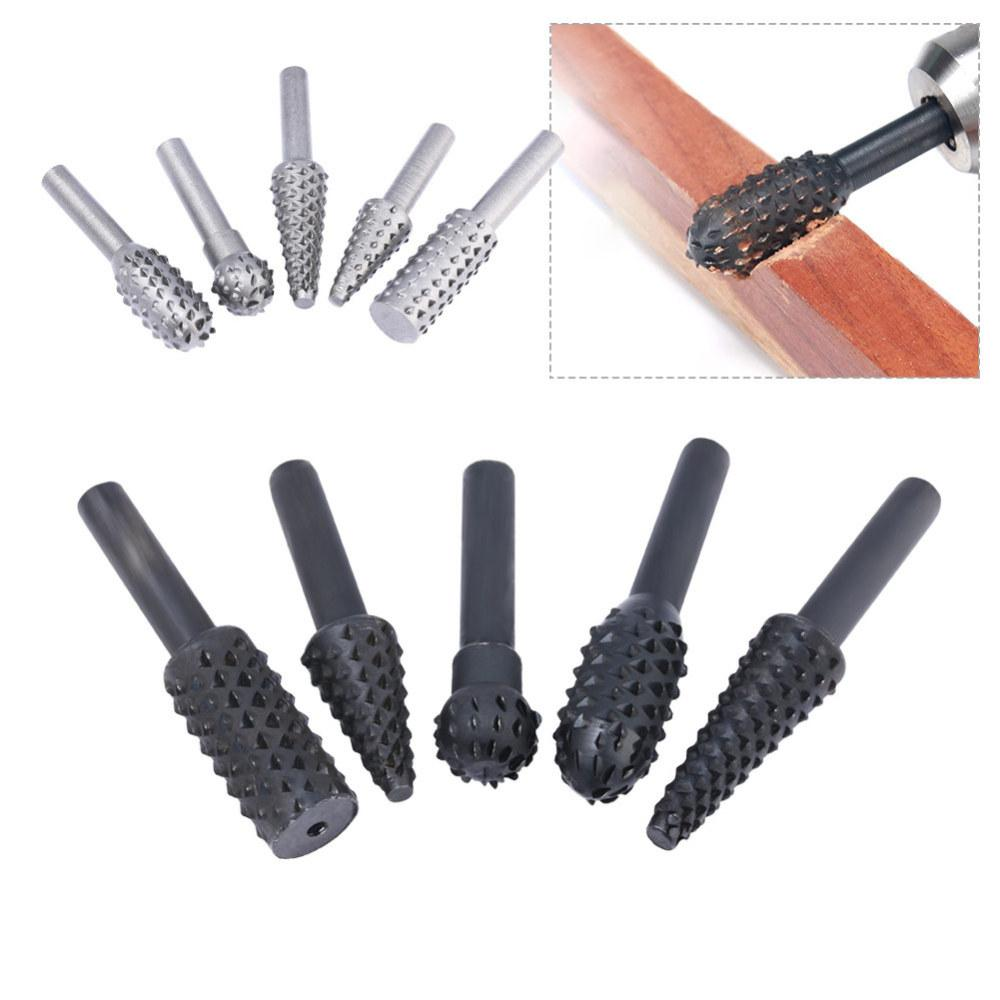 5pcs Rasp File Drill Bits Rasp Set Drill Grinder For Woodworking Carving Tool Round Shank Rotary Burr Set