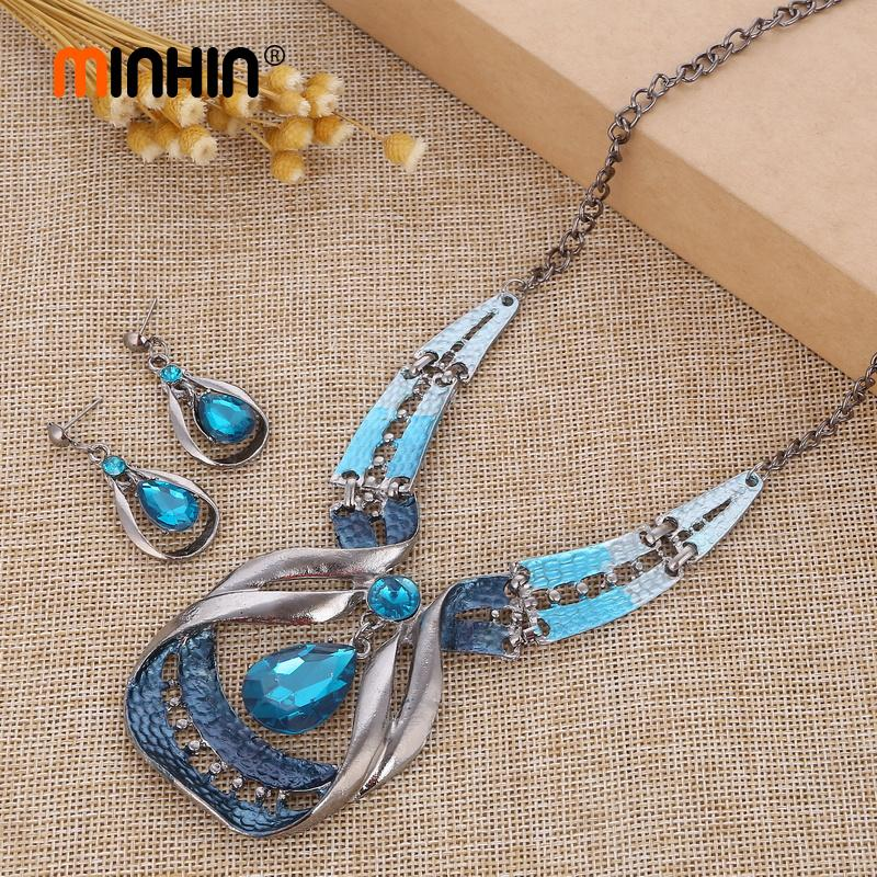 MINHIN Ladies Bohemis Silver Sets Blue Crystal Dangle Earrings Necklace Bridal Jewelry Sets Ethnic Choker African Beads Set