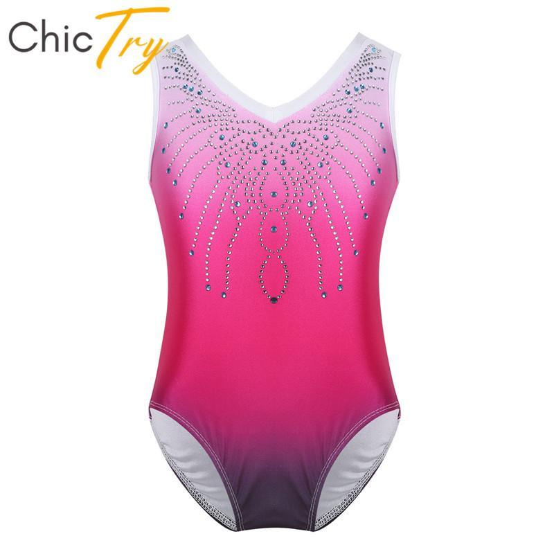 5844645ceb10 2019 ChicTry Kids Teens One Piece Gymnastics Leotard Girls Sleeveless Shiny  Rhinestone Ballet Leotards Bodysuit Stage Dance Costume From Firstcloth, ...
