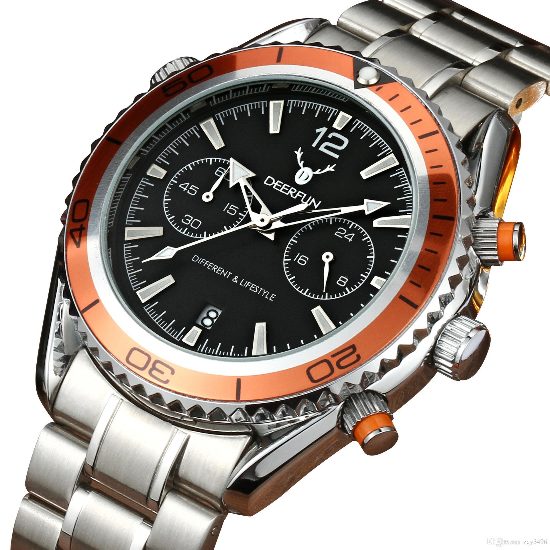 c60e1107bd9 Compre Moda Marca De Moda Homens Relógio Colock Cinta De Aço À Prova D   água Relógio De Negócios De Luxo Relogio Masculino Calendário De Quartzo  Relógio De ...