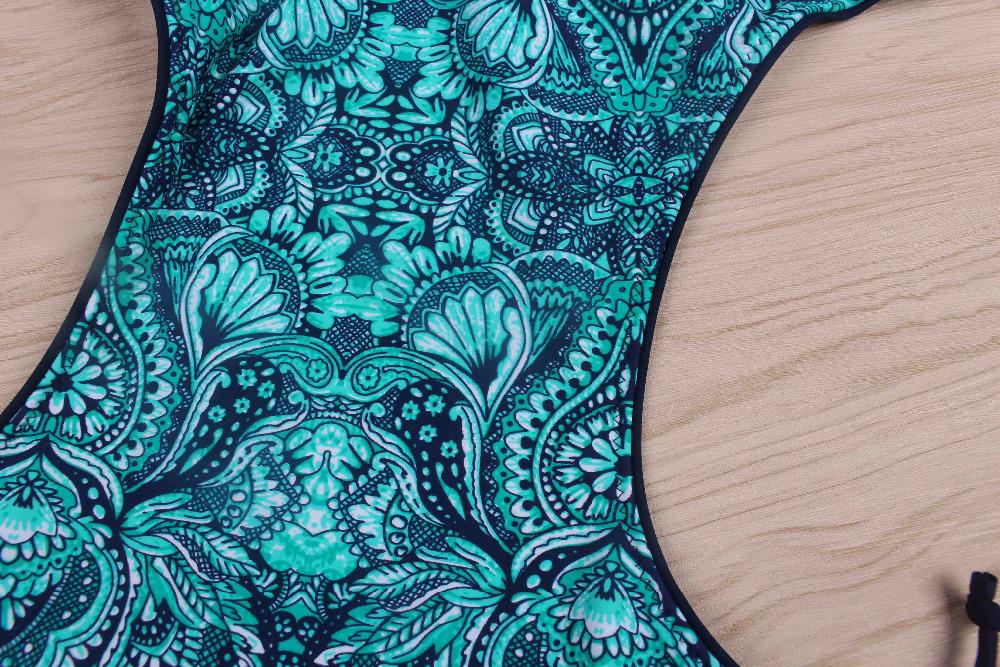 2017 neue bikini frauen underwear badeanzug retro vintage tribal druck bademode für frauen monokini badeanzug