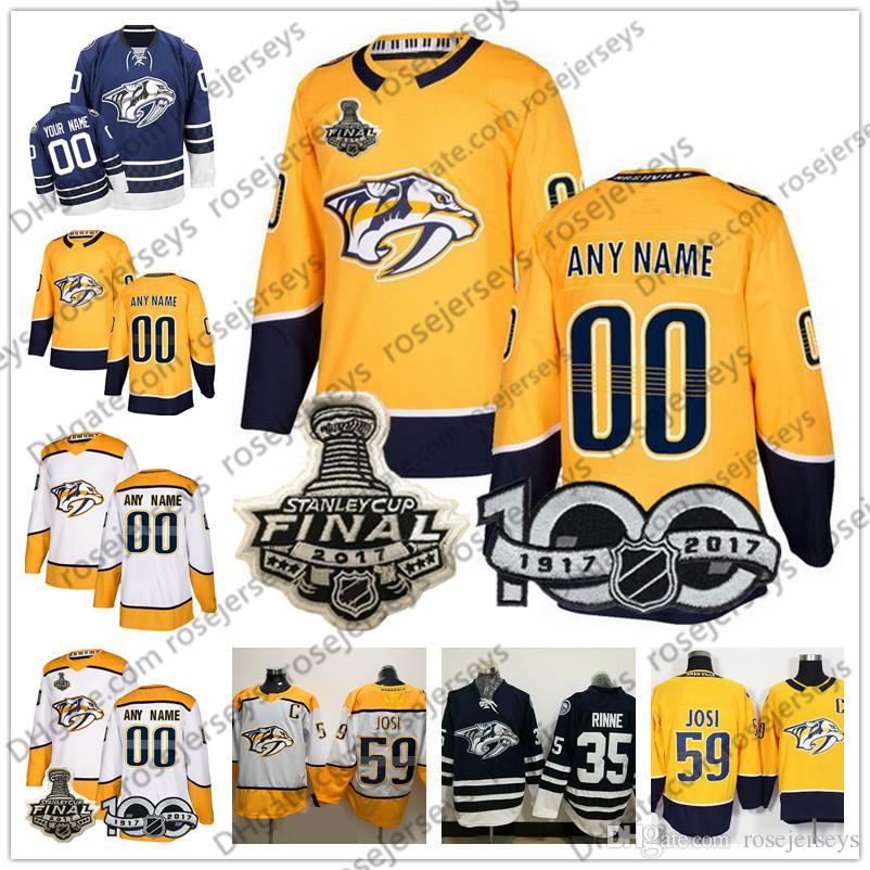 Custom Nashville Predators White Yellow Jersey Any Number Name Men ... 93e6d140f