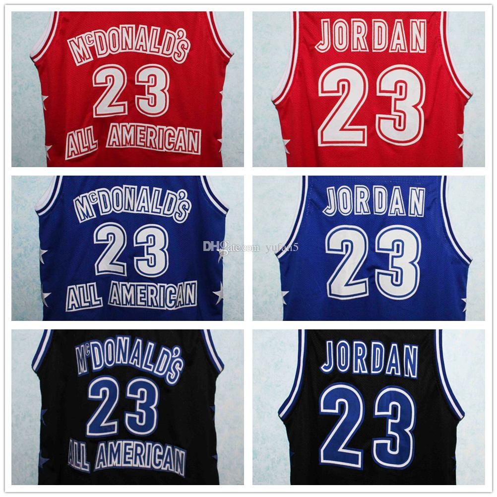 hot sale online 7080f 2b056 #23 Michael MJ McDonald's All American Retro Basketball Jerseys Mens  Stitched Custom Any Number Name