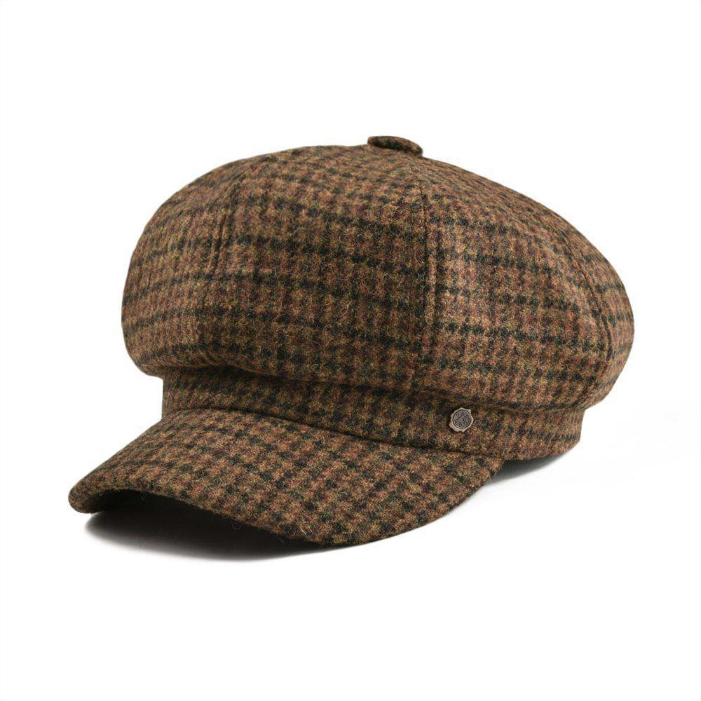 a4cda4b0a0f6 Venta al por mayor Señoras de lana irlandesa Tweed Newsboy Cap Plaid Yellow  Brown Beret Caps Chica Eight Panel Boina Hat con forrado 314