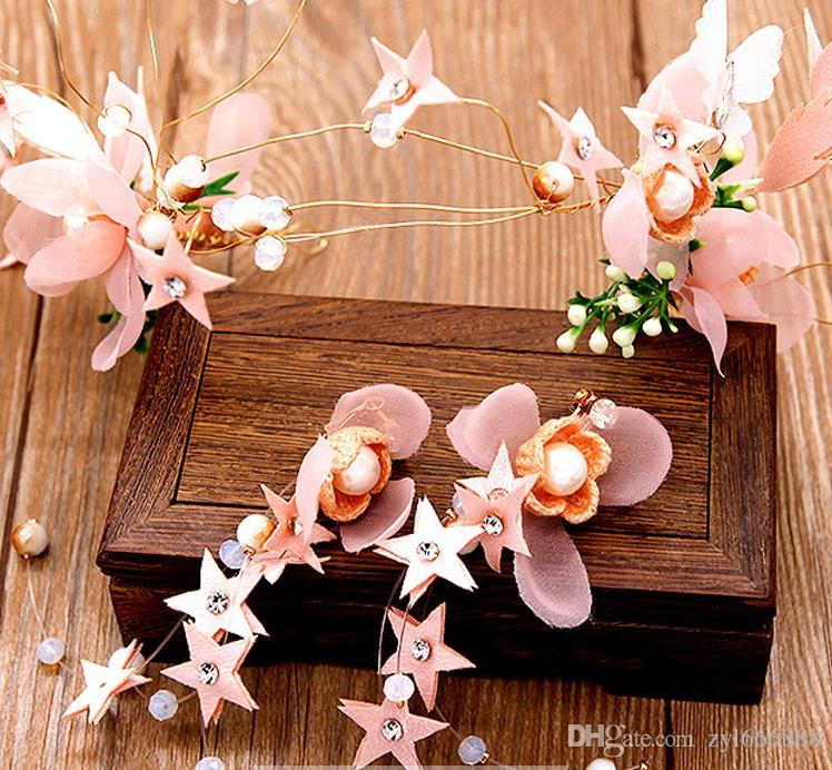 New pink flower hairband Chinese bride headdress, Earring suit, toast dress and wedding dress accessories