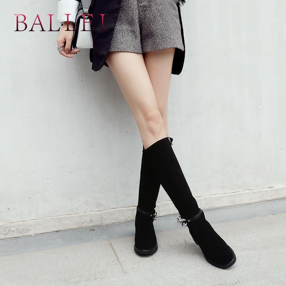 a130366423 BALLEI Vintage Woman Winter Mia Calf Boot Handmade Cow Suede Solid Round Toe  Low Heel Shoes Fashion Zipper Chain Warm Boots H35 Girls Boots Black Ankle  ...
