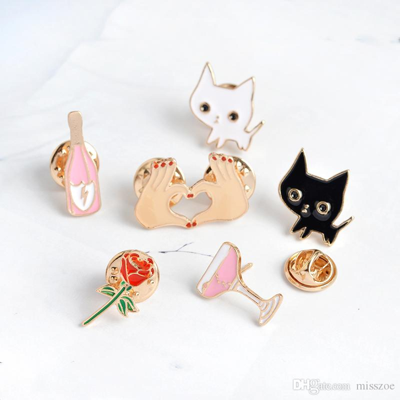Black White Cats Rose Champagne Wineglass Heart in Hand Brooch Button Pins Denim Jacket Pins Badge Cartoon Fashion Jewelry Gift