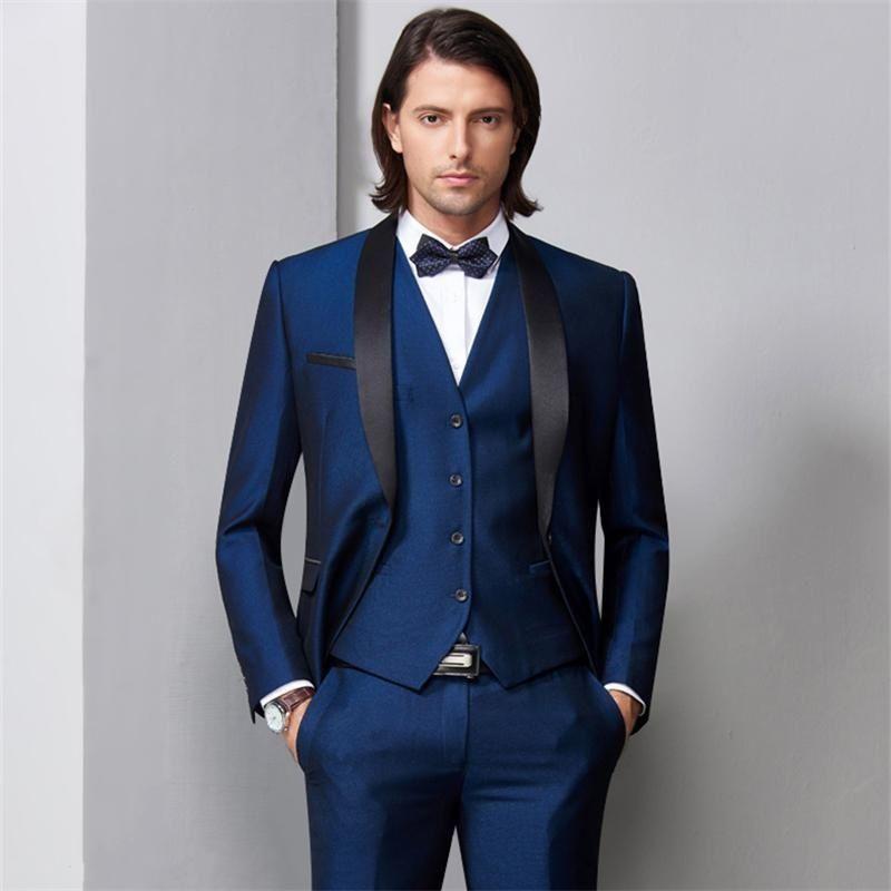 a03df844b249 New Navy Blue Men Wedding Suits Black Satin Shawl Lapel Groom Tuxedos 3  Piece Jacket+Pants+Vest Groomsman Suits Best Man Blazer 558