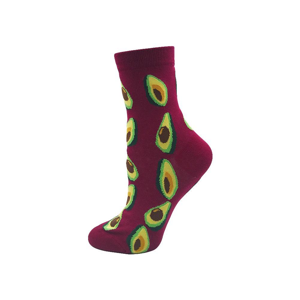 YEADU Cotton Women's Socks Funny Summer Japan Style Banana Flower Fox Avocado Flamingos Christmas Sock for Girl