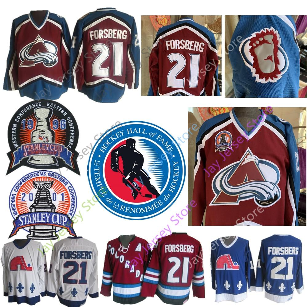 new concept 1a364 6053a Peter Forsberg Jersey 1996 2001 Stanley Cup 2014 Hall Of Fame Colorado  Avalanche Quebec Nordiques Ice Hockey Jerseys