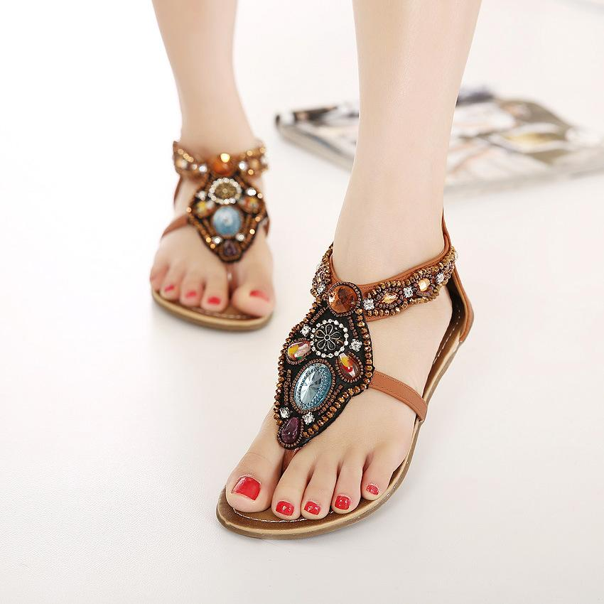 be99965d4 Women Boho Bohemian Gladiator Roman Sandals Shoes Woman Round Flat With  Casual Cross Strap Ethnic Flip Flop Flat Sandal Nude Wedges Bridal Shoes  From ...
