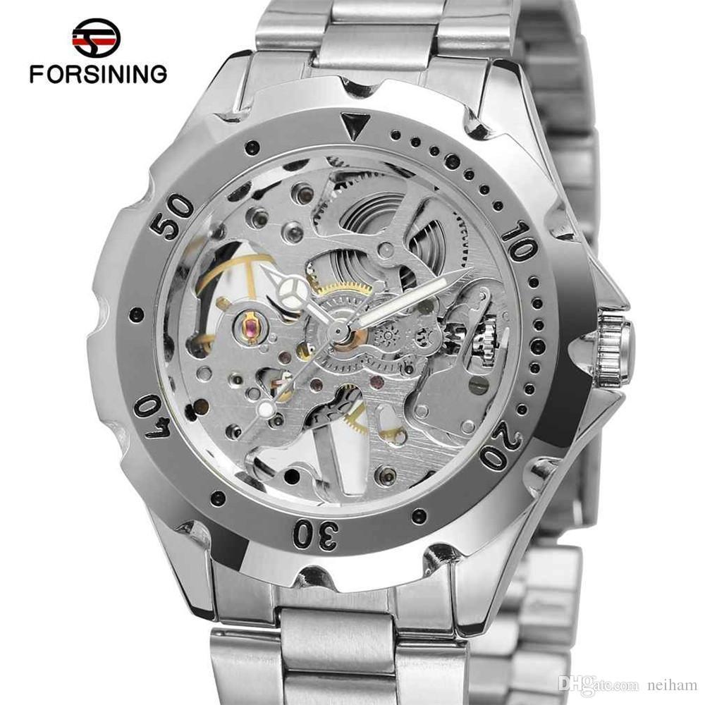 Relojes De Marcas Clásico Viento Mecánico Para Esqueleto Mano Primeras Acero Hombre Forsining Lujo Mujeres Hombres Reloj Señora Banda ym8wNn0vO