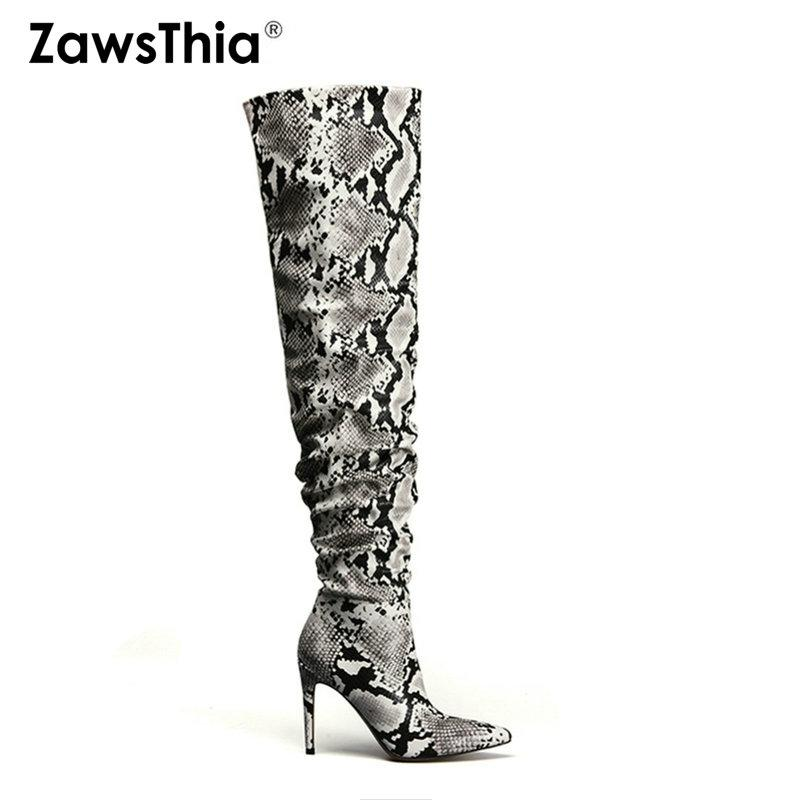 a19b715b8ae3 ZawsThia Slouch Thigh High Boot Snake Skin Over The Knee Boots Sexy Super  High Thin Heel Pleated Pointed Toe Overknee Boots Footwear Fringe Boots  From ...