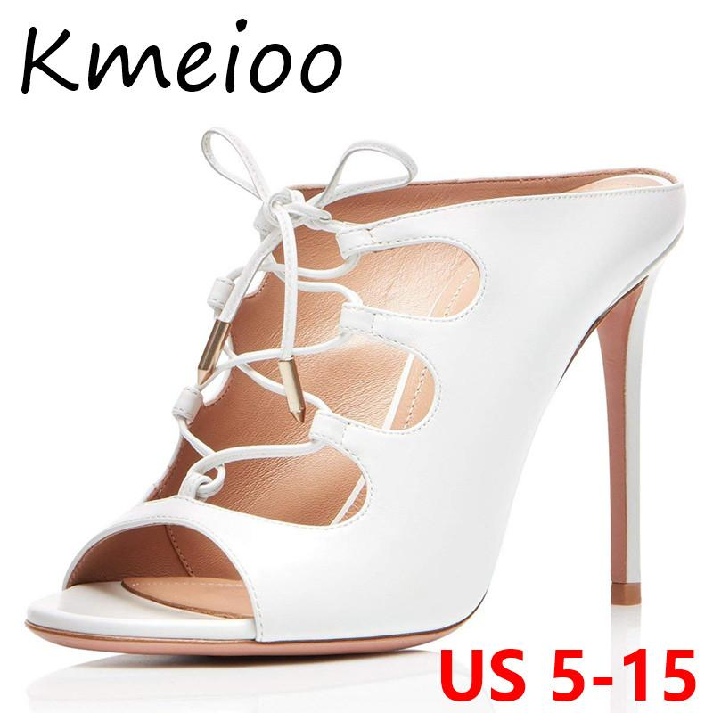 6ae2f1c678e Kmeioo Women Shoes US Size 5 15 Lace Up High Heels Cutout Mules Gladiator  Slippers Peep Toe Stiletto Party Wedding Shoes Black Boots Footwear From  Fivestage ...
