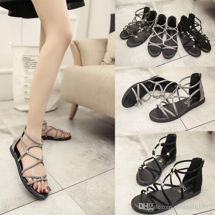 6694cc779e40 Roman Sandals Summer 2019 Bohemian Flat Soled Low Heeled Fashionable Open  Toed Style Back Zipper Women S Sandals Jelly Sandals Platform Sandals From  ...