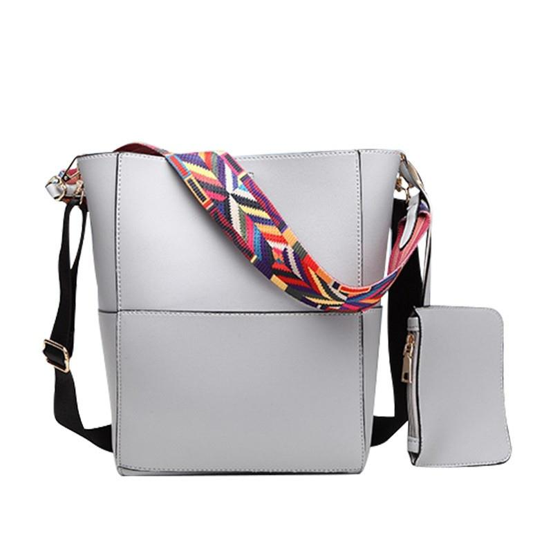 bc161ae3d421 Color Wide Shoulder Straps Shoulder Bag For Women Handbags Leather Messenger  Bags European Style Women S Tote Bucket Bag 633 Hobo Bags Designer Bags  From ...